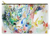 Bruce Springsteen Playing The Guitar Watercolor Portrait Carry-all Pouch