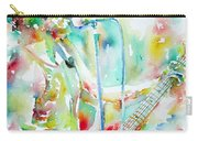 Bruce Springsteen Playing The Guitar Watercolor Portrait.1 Carry-all Pouch by Fabrizio Cassetta
