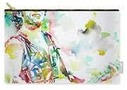 Bruce Springsteen Playing The Guitar Watercolor Portrait.2 Carry-all Pouch
