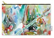 Bruce Springsteen Playing The Guitar Watercolor Portrait.3 Carry-all Pouch by Fabrizio Cassetta
