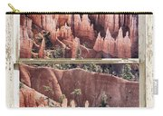 Bryce Canyon Utah View Through A White Rustic Window Frame Carry-all Pouch
