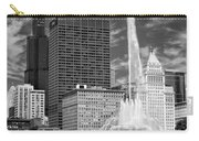 Buckingham Fountain Sears Tower Black And White Carry-all Pouch