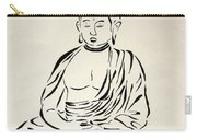 Buddha In Black And White Carry-all Pouch by Pamela Allegretto
