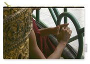 Buddhist Monk Leaning Against A Pillar Sule Pagoda Central Yangon Myanar Carry-all Pouch
