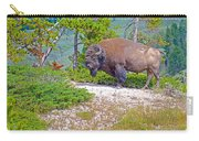 Bull Bison Near Mud Volcanoes In Yellowstone National Park-wyoming Carry-all Pouch