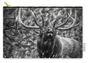 Bull Elk Bugling Black And White Carry-all Pouch