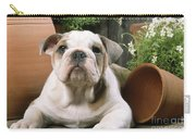 Bulldog Puppy With Flowerpots Carry-all Pouch