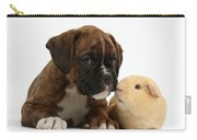 Bulldog Puppy With Yellow Guinea Pig Carry-all Pouch