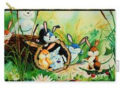 Bunnies Log And Frog Carry-all Pouch