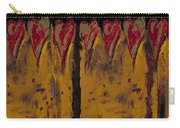 Burgandy Hearts On Gold Carry-all Pouch