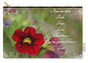 Burgundy Calibrochoa Greeting Card With Verse Carry-all Pouch