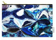Bursts Of Blue And White - Abstract Art Carry-all Pouch by Carol Groenen