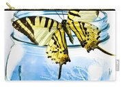 Butterfly On A Blue Jar Carry-all Pouch by Bob Orsillo