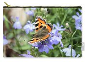 Butterfly On Blue Flower Carry-all Pouch