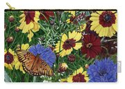 Butterfly Wildflowers Garden Oil Painting Floral Green Blue Orange-2 Carry-all Pouch