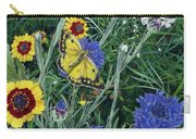 Butterfly Wildflowers Spring Time Garden Floral Oil Painting Green Yellow Carry-all Pouch