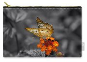 Butterfly Wings Of Sun Light Selective Coloring Black And White Digital Art Carry-all Pouch