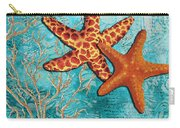 By The Sea Shore Original Coastal Painting Colorful Starfish Art By Megan Duncanson Carry-all Pouch by Megan Duncanson
