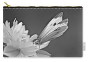 Cabbage White Butterfly On Cosmos - Black And White Carry-all Pouch