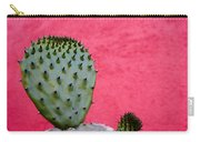Cactus And Pink Wall Carry-all Pouch by Carol Leigh