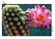 Cactus With Pink Sunlit Bloom Carry-all Pouch