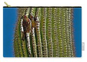 Cactus Wren With Offspring In A Saguaro Cactus In Tucson Sonoran Desert Museum-arizona Carry-all Pouch