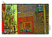 Cafe Window Corner Rue Fabre Near The Bicycle Stand Art Of Montreal Summer Street Scene  Carry-all Pouch