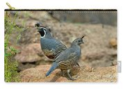 California Quail Pair On Rock Carry-all Pouch