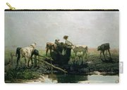 Calves At A Pond, 1863 Carry-all Pouch