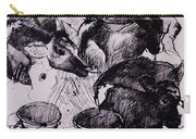 Calves, Damp, Newborn, 1978 Pen & Ink On Paper Carry-all Pouch