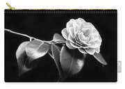 Camellia Flower In Black And White Carry-all Pouch by Jennie Marie Schell