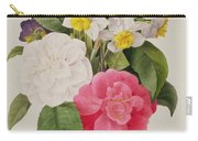 Camellias Narcissus And Pansies Carry-all Pouch by Pierre Joseph Redoute