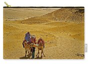 Camels Nuzzling On The Giza Plateau-egypt  Carry-all Pouch