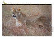 Camouflaged Female Lion In Grass Carry-all Pouch