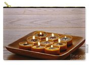 Candles In Wood Tray Carry-all Pouch