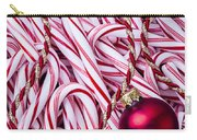 Candy Cane And Red Ornament Carry-all Pouch