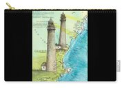 Cape Ann Twin Lighthouses Ma Nautical Chart Map Art Cathy Peek Carry-all Pouch