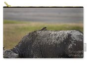 Cape Buffalo And Bird   #9873 Carry-all Pouch