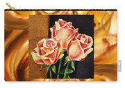 Cappuccino Abstract Collage French Roses Carry-all Pouch