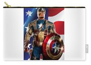 Captain America In Front Of Old Glory Carry-all Pouch