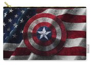 Captain America Shield On Usa Flag Carry-all Pouch