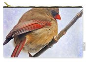 Cardinal On An Icy Twig - Digital Paint Carry-all Pouch