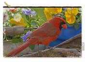 Cardinal With Pansies And Decorations Carry-all Pouch