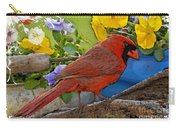 Cardinal With Pansies And Decorations Photoart Carry-all Pouch