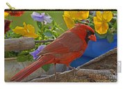 Cardinal With Pansies Carry-all Pouch