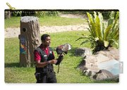 Cartoon - A Trainer And A Large Bird Of Prey At A Show Inside The Jurong Bird Park Carry-all Pouch