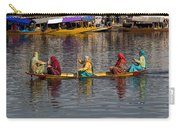 Cartoon - Ladies On A Wooden Boat On The Dal Lake With The Background Of Hoseboats Carry-all Pouch