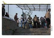 Cartoon - Locals And Tourists Standing At The Top Of The Steps Near The Dal Lake Carry-all Pouch