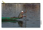 Cartoon - Man Plying A Wooden Boat On The Dal Lake Carry-all Pouch