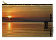 Cast Away - Young Child Fishing From A Pier On The Indian River Bay As The Sun Sets Across The Water Carry-all Pouch